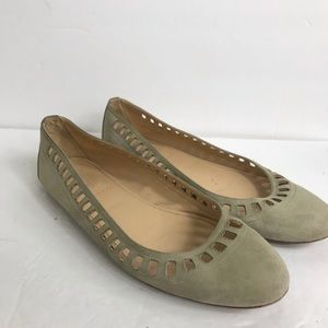 J. CREW Size 7.5 Flats  Italy Nora Suede Cutout W